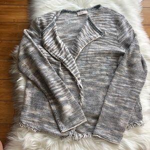 Loft Gray Creme Heathered Sweater Jacket